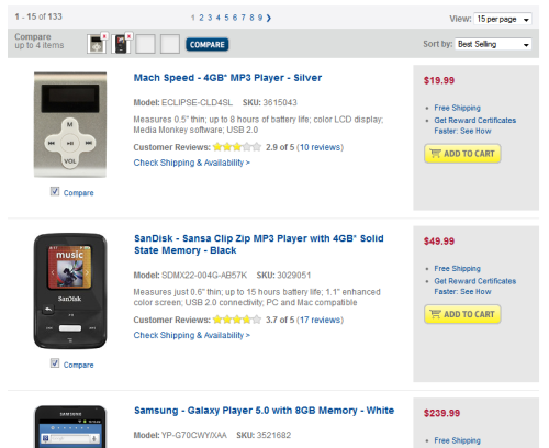 Selecting items for comparison at Best Buy