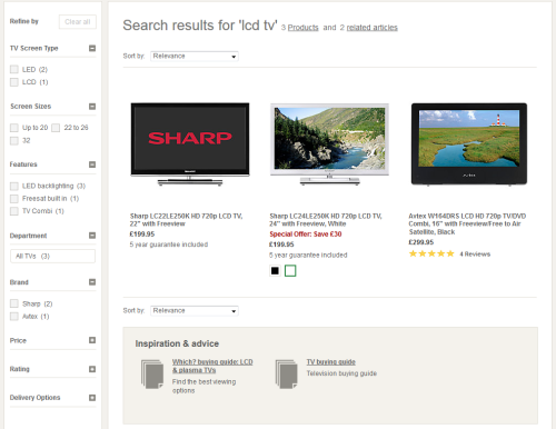 Diverese content results at John Lewis