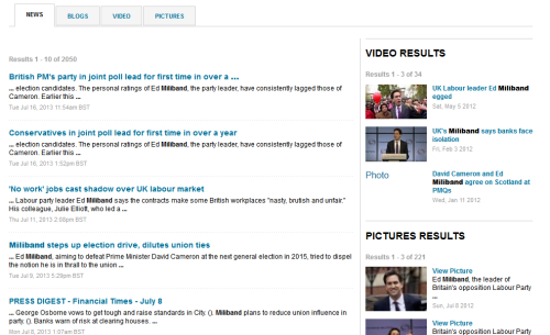 Diverse content results at Reuters