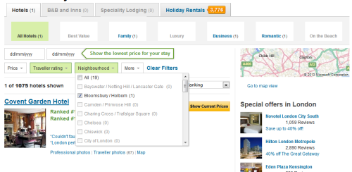 Selections applied universally at TripAdvisor