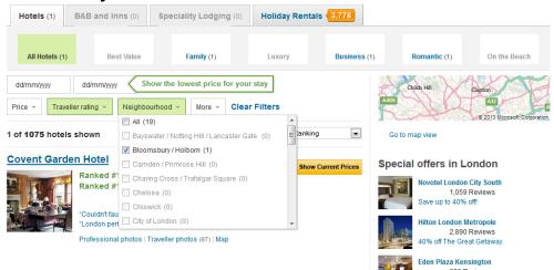 Selections applied universally at TripAdvisor
