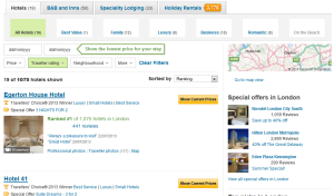 Tabbed categories at TripAdvisor